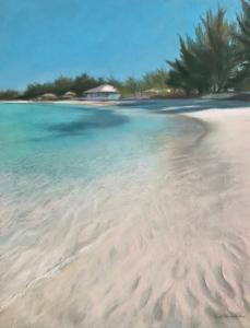 Evie-Baskin-Soft-Sand-Vibrant-Sea-16x20-pastel-by-Evie-Baskin