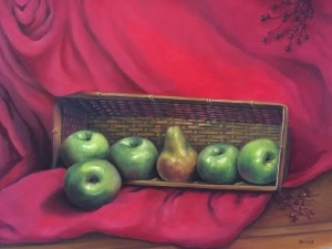 Pat-Lang-Five-Apples-and-a-Pear-oll-painting-by-Pat-Lang